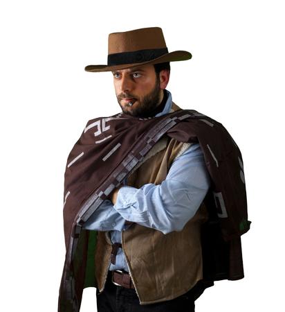 gunfighter: Gunfighter of the wild west on white background.