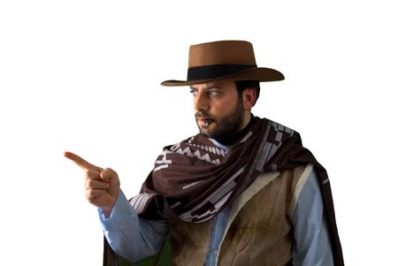gunfighter: Gunfighter of the wild west pointing on white background.