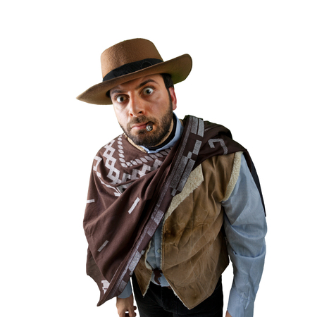 WOW Gunfighter in the old wild west on white background Stock Photo