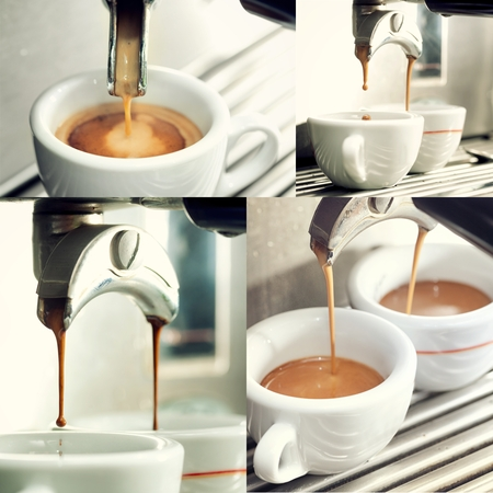 cup four: Collage of four close up of an espresso machine making a cup of coffee.