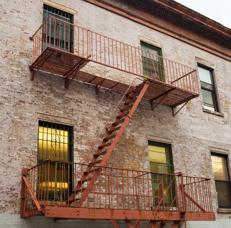 old new york: Typical Fire ladder of an old house in New York Stock Photo