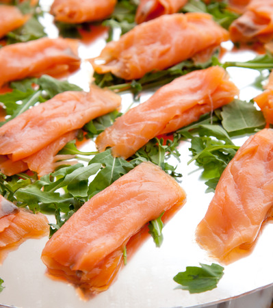 standing reception: Smoked salmon  on the buffet for a banquet