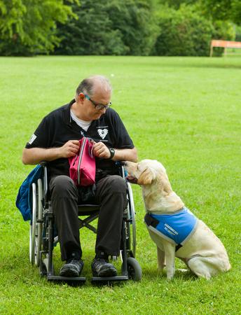 paraplegico: Montelupo Fiorentino, Italia - 12 de junio 2016: La vida, el evento de un perro dedicado a la valorización y las utilidades de perros. Manifestaciones que tuvieron lugar en el parque Ambrogiana.