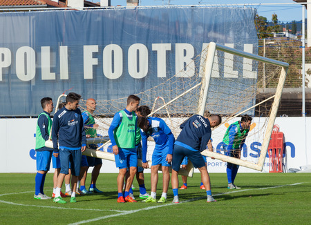 20   24: Empoli, Italy - October 20, 2015: Training session of the team Empoli Football before the match vs. Genoa which will be held Saturday, October 24.