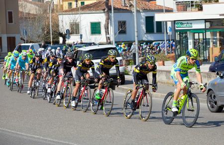 tyrrhenian: The passage of the Tyrrhenian to the Adriatic in Empoli. Third step of cycling race Tirreno-Adriatico from Cascina to Arezzo. Italy, Empoli. 13032015.