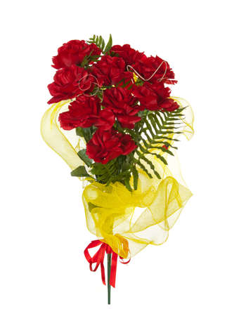 synthetic fiber: Artificial bunch of red roses made of synthetic fiber on white background. Stock Photo