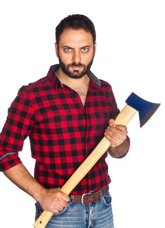 plaid shirt: Lumberjack with plaid shirt on white background Stock Photo