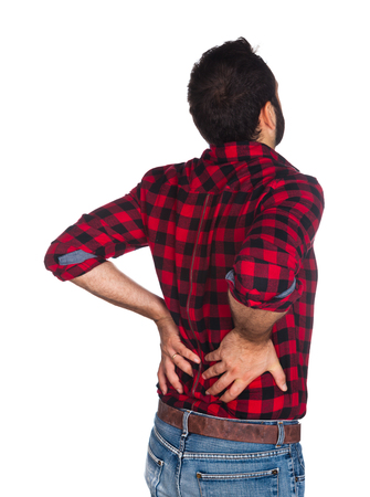 shoulder inflammation: Lumberjack in plaid shirt with back pain isolated on white background. Stock Photo