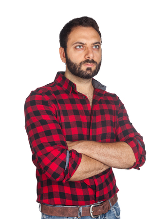 plaid shirt: Worker with plaid shirt on white background