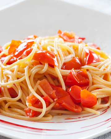 Spaghetti with cherry tomatoes without basil, natural light shooting.