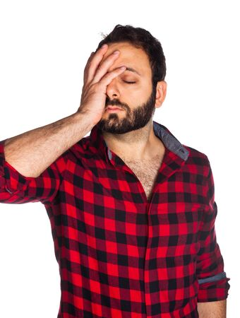 desperate: Desperate worker with plaid shirt on white background