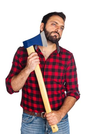 plaid shirt: Lumberjack with plaid shirt shaves his beard with the ax blade on white background. Stock Photo