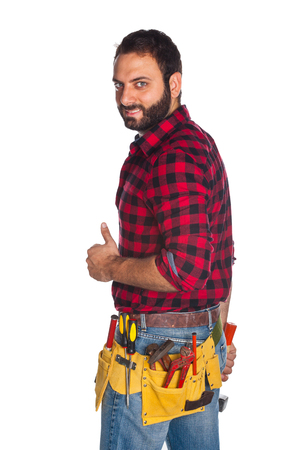 plaid shirt: Worker in plaid shirt with thumb up on white background Stock Photo
