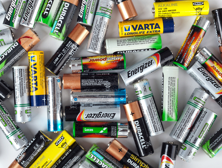 electronic energizer: Empoli, Italy - September 01, 2016:  Different types of used batteries ready for recycling. Each year in Europe more than 2 billion batteries are thrown. Editorial