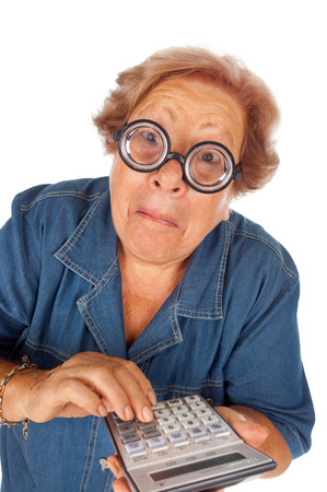 funny elderly: Funny elderly woman with calculator on white background.