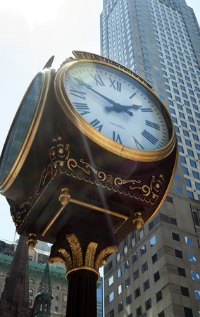 donald: New York City, Ny, Usa - July 10, 2015: Clock in front of Trump Tower on Fifth Avenue in midtown Manhattan. Developed by Donald Trump this tower opened in 1983.