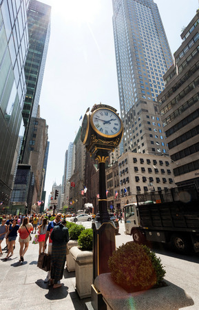 fifth: New York City, Ny, Usa - July 10, 2015: Clock in front of Trump Tower on Fifth Avenue in midtown Manhattan. Developed by Donald Trump this tower opened in 1983.