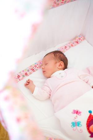 cradle: Portrait of sleeping newborn baby girl in the cradle. Stock Photo