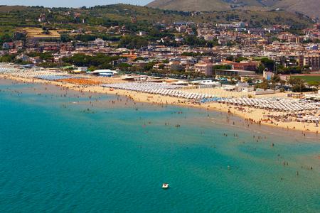 Summer landscape of Mediterranean sea coast. Bay of Serapo, Gaeta in Italy.