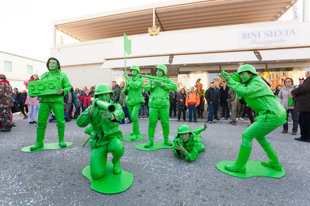 Viareggio, Italy - March 03, 2013: 140th edition of the Carnival of Viareggio. Every year the Carnival attracts blackberries than 600 thousand to attend the magic of the grand parades.