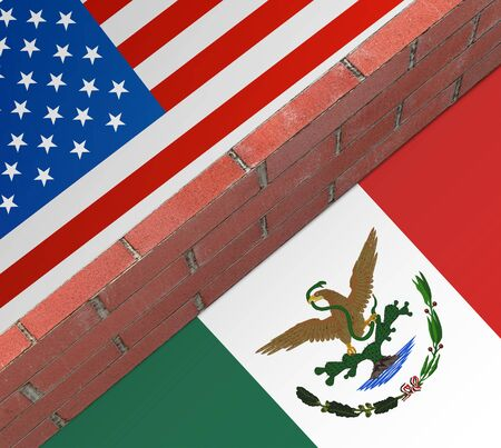 Concept of construction of the wall between the US and Mexico. Stock Photo