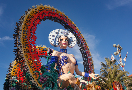Viareggio, Italy - February 26, 2017:  144th edition of the Carnival of Viareggio. Every year the Carnival attracts more than 25 thousand visitors to attend the magic of the grand parade. Editorial
