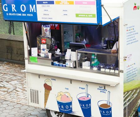 New York City, Usa - July 07, 2015: Grom street food in Manhattan. Italian ice-cream sales in the downtown area. Grom is a chain of ice cream parlors founded in Turin in 2003.