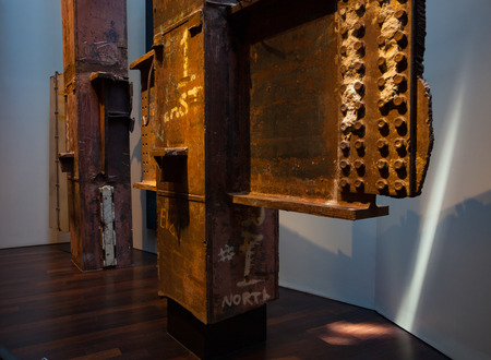 New York City, Usa - July 11, 2015: 9-11 Memorial Museum Tridents steel structures of the destroyed Twin Towers, Manhattan
