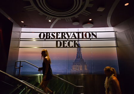 New York City, Usa - July 11, 2015: Observation Deck Sign inside the Empire State Building. From the 86th and 102nd floors can be seen all the peninsula of Manhattan. Editorial