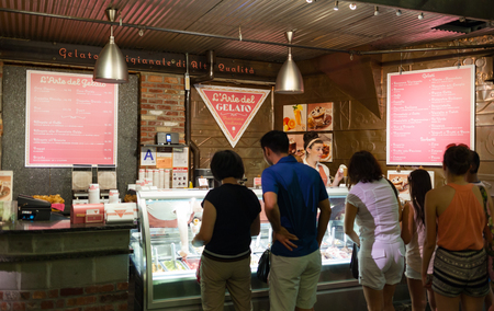 chelsea market: New York City, Usa - July 11, 2015: Famous Italian ice cream shop LArte Del Gelato Sicilian tradition in Chelsea Market.