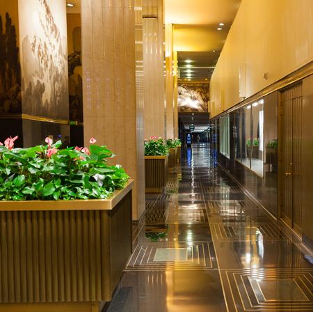 fifth avenue: New York City, Usa - July 09, 2015: Rockefeller Center interior. Rockefeller Center is a complex of 12 buildings arranged on octagonal along Fifth Avenue