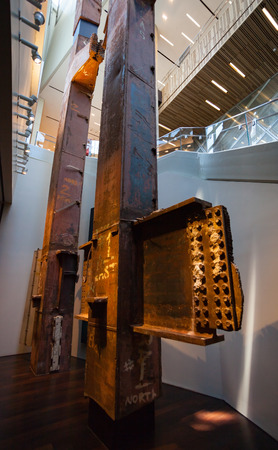 steely: New York City, Usa - July 11, 2015: 9-11 Memorial Museum Tridents steel structures of the destroyed Twin Towers, Manhattan