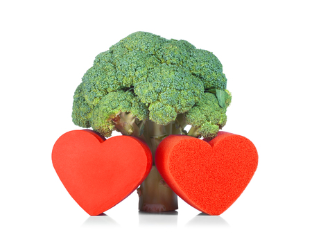 Raw Broccoli with hearts, concept of healthy food.