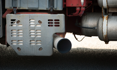 Exhaust gases emitted from sliencer of large truck