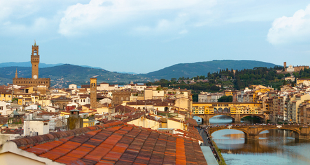 national geographic: View over Florence with the Ponte Vecchio and Palazzo Vecchio, Italy. Stock Photo