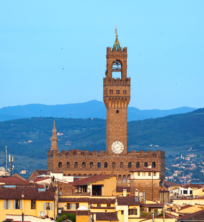 Palazzo Vecchio in Piazza della Signoria, Historic building where there is currently the town hall. Florence, italy.