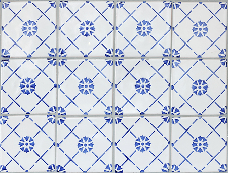 faience: Tile texture background with blue majolica. Stock Photo