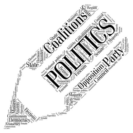 politic: Words cloud of Politics made of a pencil shape with tags on white background. Illustration