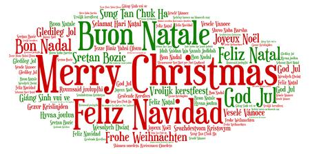 Nuvola di parole, Buon Natale in tutte le lingue del mondo realizzate con forme e tag cloud.