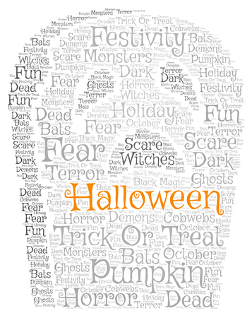 Words cloud, Halloween concept made with tomb stone shape and tags on white background.