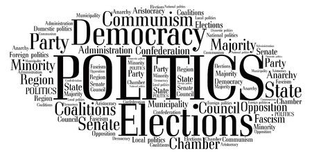 politic: Words cloud of Politics with tags on white background.