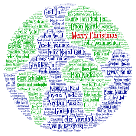 Words cloud, Merry Christmas in all languages of the world made with Earth shape and tags.