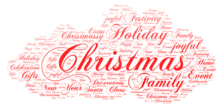 Words cloud, Christmas concept made with cloud shape and tags on white background. Illustration