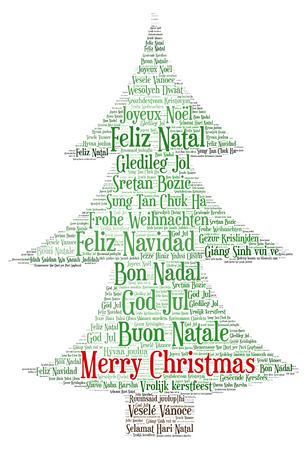 言葉の雲のメリー クリスマス クリスマス ツリーの形状とタグで作られて世界のすべての言語で。