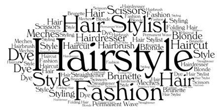 Nuage de mots, concept de coiffure fait avec forme de nuage et étiquettes sur fond blanc.