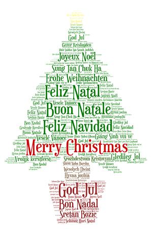 Parola nuvola, Buon Natale in tutte le lingue del mondo fatto con forma di albero di natale e tag. Archivio Fotografico - 87432712