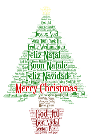 Words cloud, Merry Christmas in all languages of the world made with christmas tree shape and tags. Stock Vector - 87432712