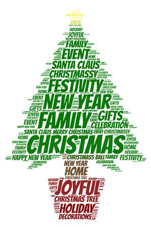 Nuvola di parole, concetto di Natale fatto con forma dell'albero di Natale ed etichette su fondo bianco.