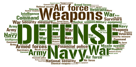 Words cloud, Defense concept made with cloud shape and tags on white background. Illustration