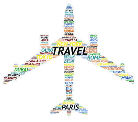Tag cloud about famous cities made of airplane shape isolated on white background.